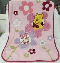 Disney Vintage Winnie Pooh Piglet Flower Fleece Baby Blanket Needs Repair B44 - $34.99