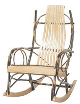 Amish USA Porch Rockers Handcrafted 9-Slat Oak and Hickory Twig Arm Set ... - $622.30