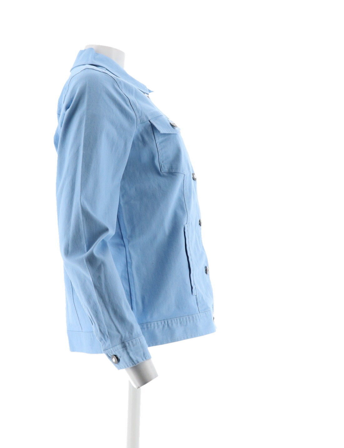 Denim & Co Stretch Twill Jean Jacket Bling Buttons Chambray XS NEW A199936