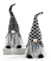 """Set of 2-16"""" Polyester Gnomes w Festive Hat Silver Thread Long Beard Black Boots"""