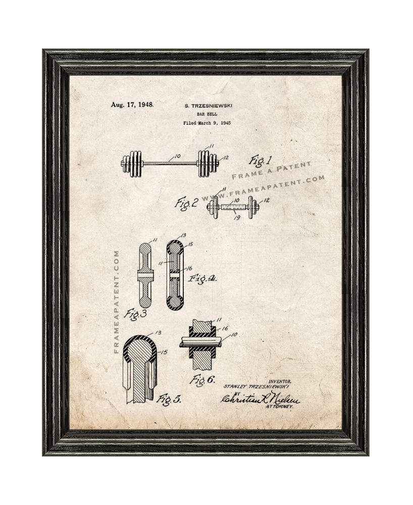 Primary image for Barbell Patent Print Old Look with Black Wood Frame