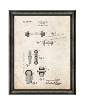 Barbell Patent Print Old Look with Black Wood Frame - $24.95+