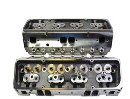 SBC Small Block Chevy GM Angle Plug Aluminum Cylinder Head Set 64cc 2.02/1.60 image 5