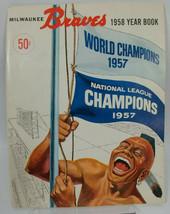 1958 Milwaukee (Atlanta) Braves Yearbook 1957 World National League Cham... - $49.42