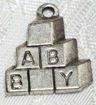 BABY BLOCKS FINE PEWTER PENDANT CHARM - 15x18x2mm image 1