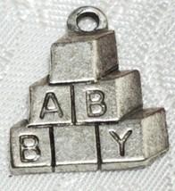 BABY BLOCKS FINE PEWTER PENDANT CHARM - 15x18x2mm