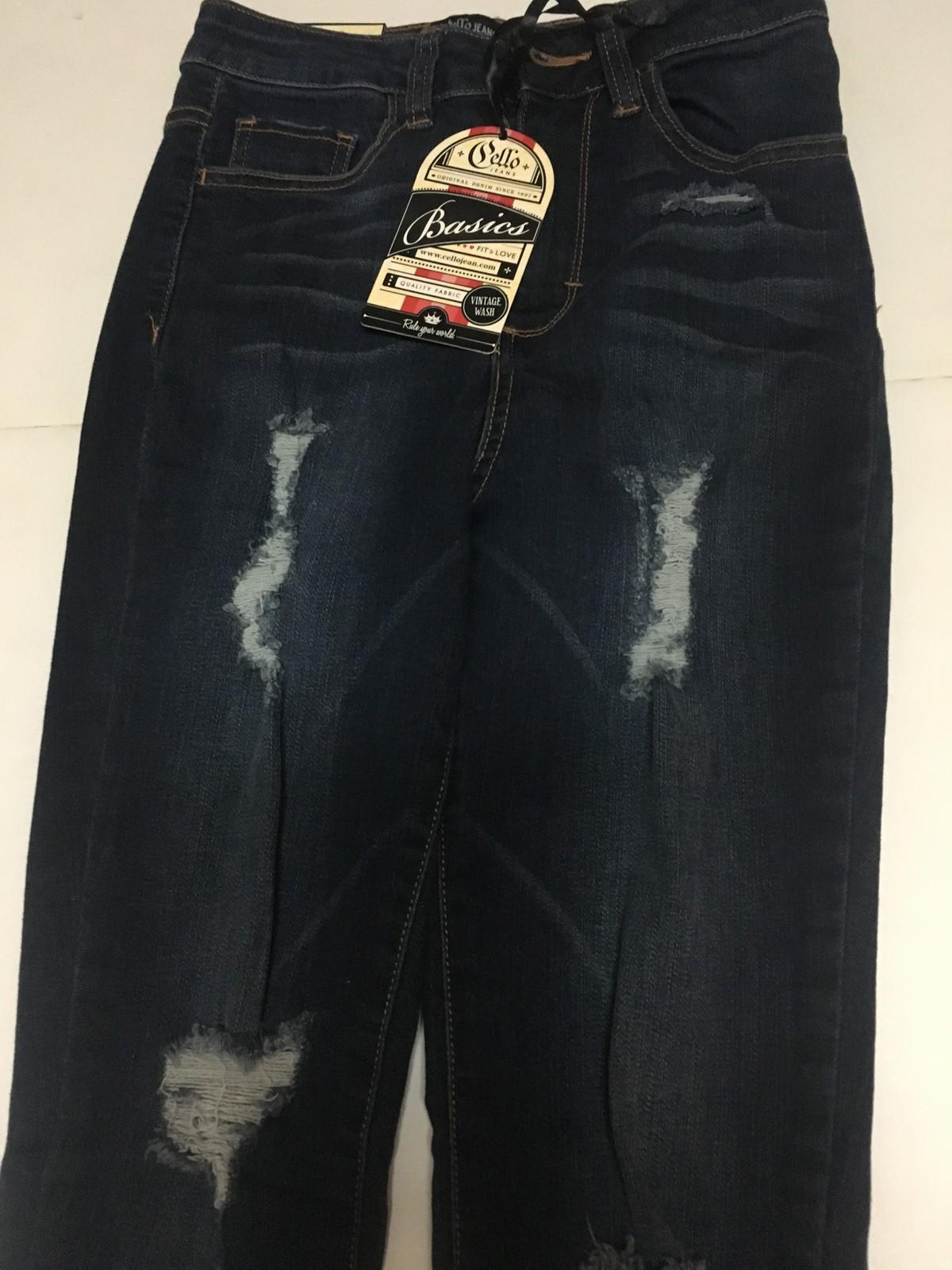 "Girls Skinny Blue Jeans Cello Jeans Juniors Sz 3 Distressed Waist 24"""