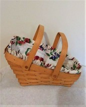 Longaberger (1998) Medium Vegetable Basket with Fruit Medley Liner - $34.64