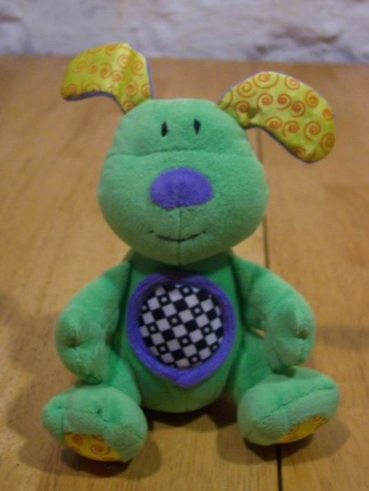 "Primary image for Kids II BRIGHT GREEN DOG RATTLE 6"" Plush Stuffed Animal"
