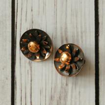 vintage copper flower clip earrings mid century midcentury - $9.89