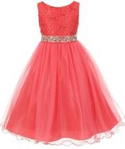 Flower Girl Dress Glitters Sequin Top Rhinestone Sash Coral MBK 340 - $47.99