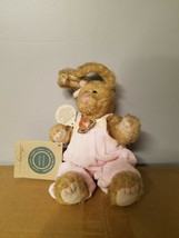 "Boyds Bears 8"" Bean Plush Rabbit Hailey Jointed Cream Color with Pink Rose - $5.99"
