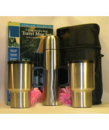 New 4 Piece Silver Travel Mug Set Coffee Tea 2 Cups 1Thermos Warm or Col... - $21.99