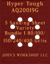 Hyper Tough AQ20019G - 80/100/150/240/400 Grits - 5 Sandpaper Variety Bundle I - $7.53