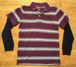 Gap Kids Boy's Maroon & Gray Striped Long Sleeve Polo Shirt - Size: Medium - $14.03