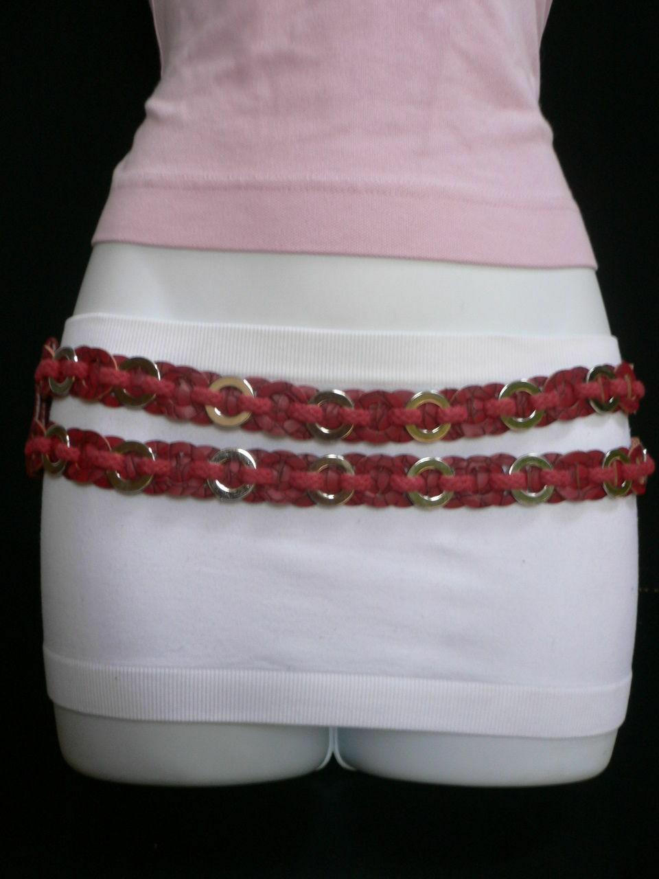 Femme Hip Taille Élastique Deux Rangs Argent Anneaux Métal Rouge Mode Ceinture image 11
