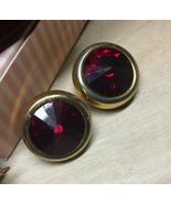 VTG 80s E.PEARL Signed Round Ruby Red Rivoli Cut Rhinestone/Gold Clip Ea... - $24.98