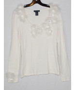 Boston Proper Sweater Womens Small S Cream Feathers Floral Rhinestones P... - $26.68