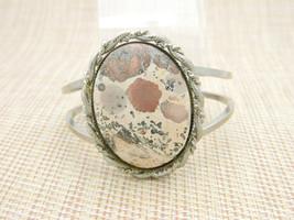 Cream Tan Brown Splattered Agate Silver Tone Bangle Bracelet Vintage - $29.69