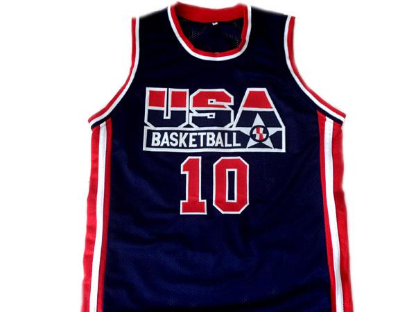 Reggie Miller #10 Team USA Men Basketball Jersey Navy Blue Any Size