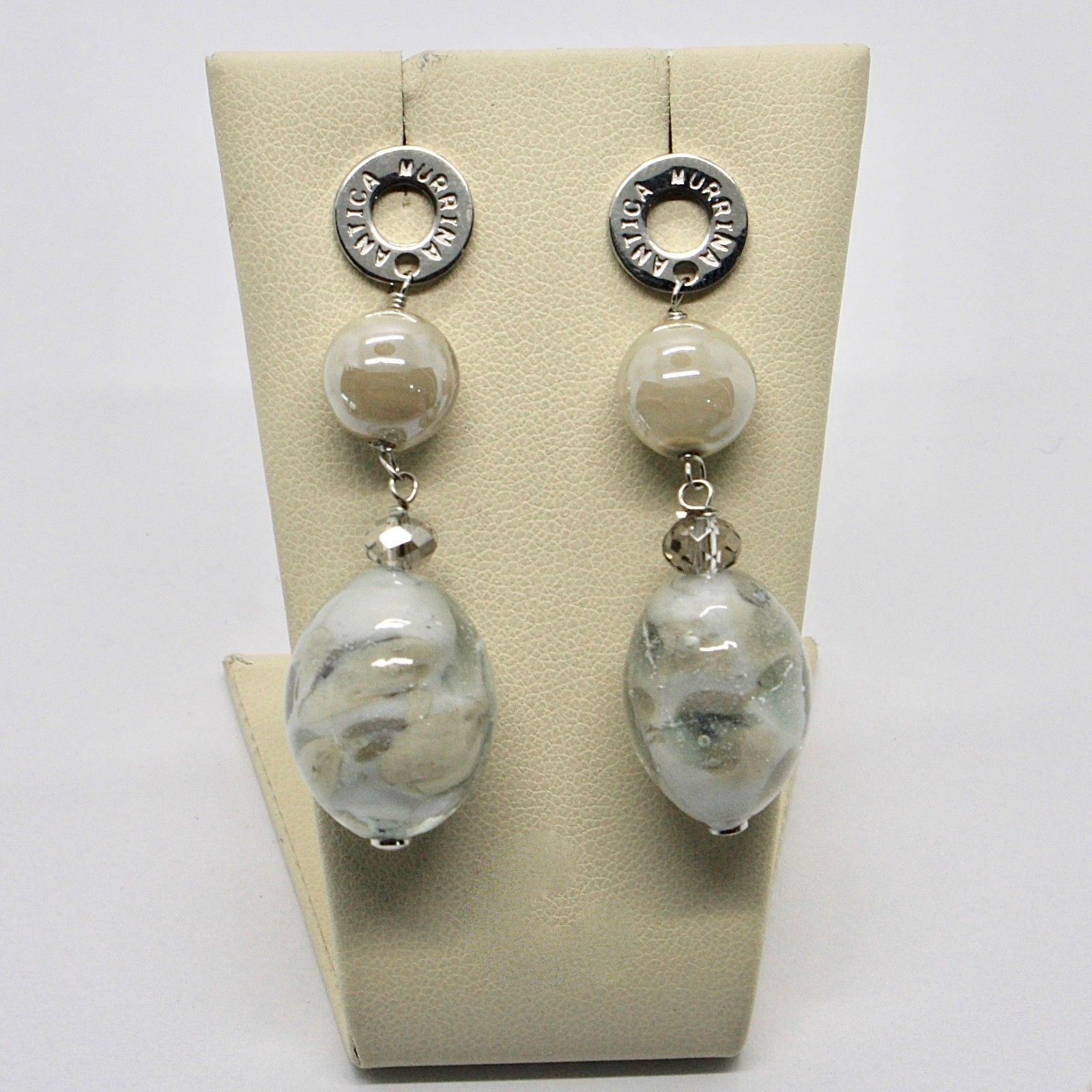 ANTICA MURRINA VENEZIA EARRINGS WITH MURANO GLASS GRAY BEIGE SILVER  OR583A34