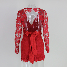 Women Deep V-neck Long Sleeve Lace Floral dress backless Mini Body Red Dress  - $36.26