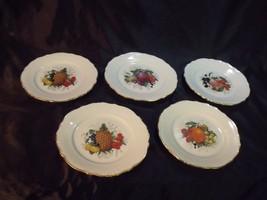 "Set Of (5) Winterling West Germany 7 1/2"" Gilt Edge Fruit Plates - $29.70"