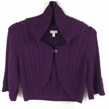 Ann Taylor LOFT Women's Cardigan Sweater Size XL Purple Cable Knit One B... - $14.62