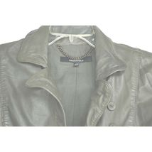 MUUBAA lambskin soft leather jacket SZ 8 Moss Army Gray asymmetric buttoned image 6