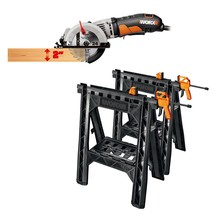 WORX 4-1/2 WorxSaw Compact Circular Saw and Clamping Sawhorses With Bar ... - $97.96