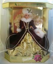 New Barbie Happy Holidays Doll 1996 Special Edition Blonde 15646 Burgund... - $34.99