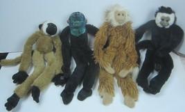 Lot of 4 Hanging Monkeys Plush Closure Paws ~ Cream ~ Brown ~ Black ~ Ti... - $26.53