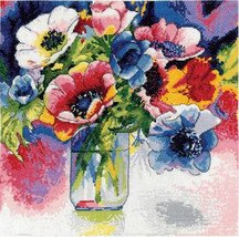 Design Works Watercolor Anemonies Cross Stitch Kit, 12x12in, 14 ct aida floral - $24.99