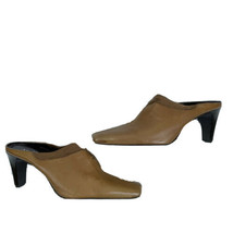 Sesto Meucci Womens Size 7.5 Brown Leather Stacked Heel Slip On Mule Sho... - $59.39