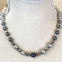Faux Pearls And Swarovski Crystals Silver Tone Hardware Princess Necklace - $17.77