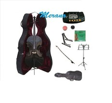 Merano 1/4 Size Black Cello,Hard Case with Bag and Bow+2 Stands+Tuner+Ro... - $219.99