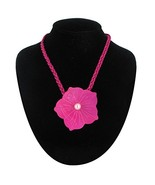 Necklace Pendant Mother Of Pearl Large Flower Satin Cord Hot Pink Fuschi... - $35.72