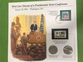 First Live Telecast of a Presidential News Conference JFK Collector Page - $8.53