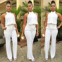 Womens 2 Piece Suit Sexy Crop Top and Long Pants Ladies Work Office Clubwear Bod
