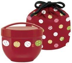 Lunch box Bowl shaped  560 ml Bento box with Temari rabbit Vermillion JAPAN - $26.00