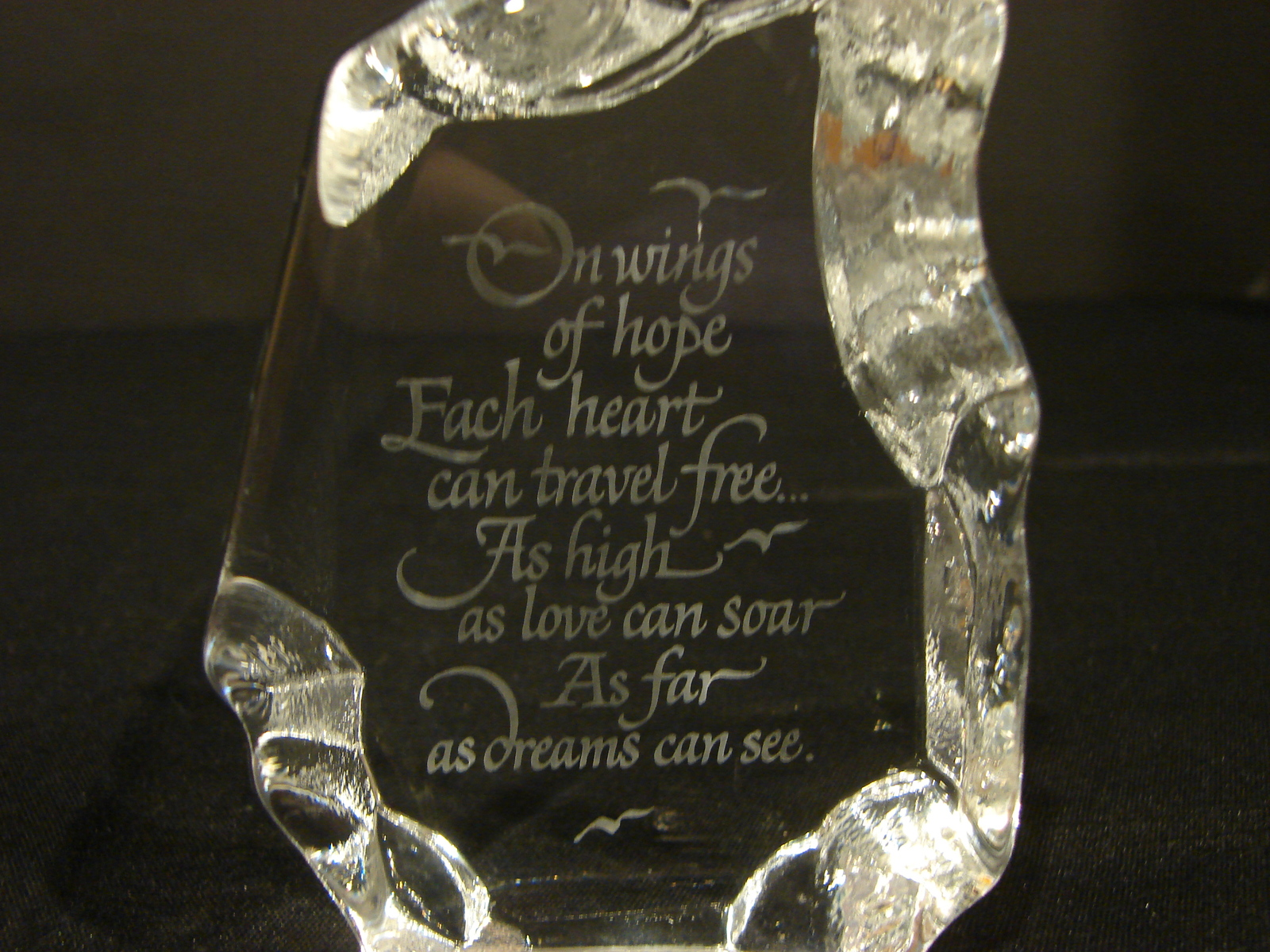 """Engraved Glass """"Iceberg"""" Paperweight: """"On Wings of Hope"""" - $3.99"""