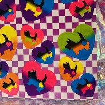 Vintage Lisa Frank S161 Scottish Terrier Dog In Rainbow Hearts Checkered Pattern image 2