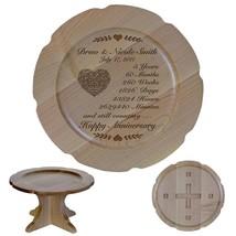 Cake Stand Wedding Pedestal Wooden Round 5th Anniversary - $74.99