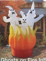 Last New Huge Halloween 10' X 10' W Ghosts On Fire Lighted Airblown Infl... - $89.09