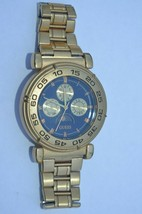 Vintage GUESS Blue/Gold Sun Moon Phase  Watch Day Date Dial New Batt. GU... - $32.68