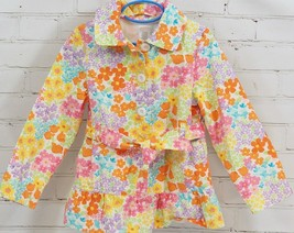 Gymboree Pastel Spring Floral Jacket Trench front tie Girls Sz S 5-6 100% Cotton - $29.69