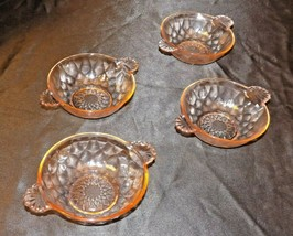 Pink depression glass Berry Bowls (Set of Four) AA20-CD0071 Vintage
