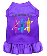 Not All Who Wander Embroidered Dog Dress Purple Med - $25.98