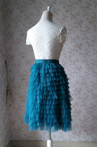 DEEP GREEN High Waist Knee Length Tiered Tulle Skirt Wedding Party Tulle Skirts image 4