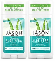 JĀSÖN Soothing Aloe Vera Deodorant Stick Pack of 2 with Grapefruit Seed Extract,